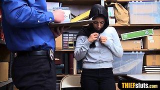 Muslim busty teen thief in hijab punish fucked hard