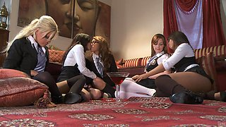 Five hot lesbians in sexy uniforms have a naughty orgy
