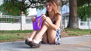 A very bad girl takes off her panties in public and walks around