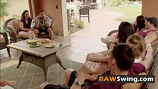 Amateur couple visits big mansion and participates in unforgettable swinger orgies