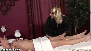 an amazing lesbian scene among a hot masseuse and her client