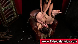 Lesbo domina fists bound hoes ass and face sits in fetish