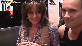 Charming babe July meets a horny dude in cafe and fucks him in the toilet