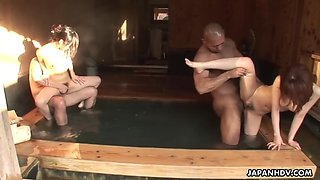 two slim japanese girls get fucked by two guys in sauna