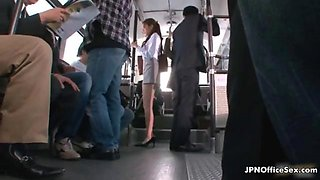 Sexy brunette babe gets horny in the public bus