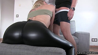 Blonde babe doggy fucked in latex leggins