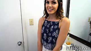 Pretty amateur eurobabe BJ and drilled in public toilet