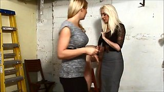 Nice mistresses give a good spanking in the garage part2