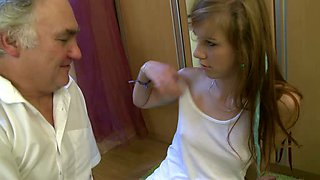 Dasha the hot college girl gets naughty with an old man