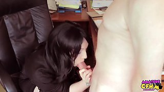 rubs cock hot secretary