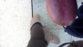 cum on teen ebony at bus stop