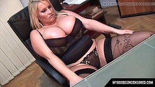 Huge tits Laura Secretary masturbate in office