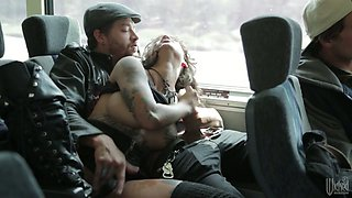 Squirting queen GF Bonnie Rotten gives her head and rides dick in the bus