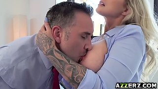 Busty lady boss Ryan loves fucking with Keiran