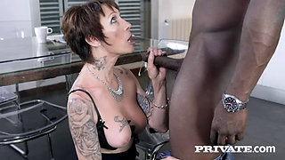 Tattooed Mature MILF sucks and fucks BF's BBC