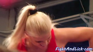 Smalltit wrestling lezzie pussylicked nicely