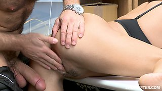 Alluring shoplifting chick Isabella Nice gets her pussy punished in the back room
