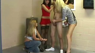 Young man humiliated in the women toilet
