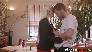 Gracious euro beauty gets hot anal after romantic dinner