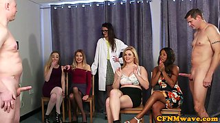 CFNM babes tugging dick until it sprays cum