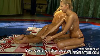 Enthralling oil wrestling with orgasm craving lesbians