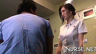 Nurse in heats roughly drilled and made to drink spunk