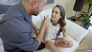 Slim vivid girlfriend Kimmy Granger flashes ass and gives a good blowjob