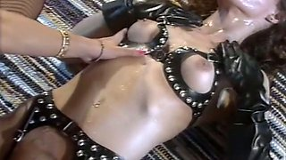 Two lean and naughty ladies having anal sex threesome