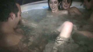 Several naughty gals please each other in whirling pool