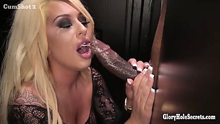Hot blonde gagging on strangers cocks in gloryhole