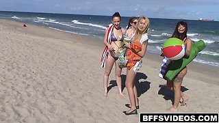 Smoking hot group of teen babes are having fun on their vacation with a well endowed stud
