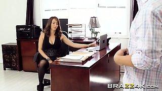 Brunette secretary Isis Love take boner on desk