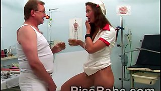 Old perv drinks piss of beautiful young nurse Carmen Collins