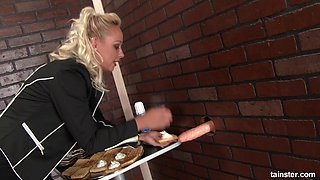 Naomi Nevena once again has a messy session with a gloryhole cock