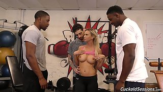 Cuckold dude watches how two black dudes fuck his whorish white GF Astrid Star