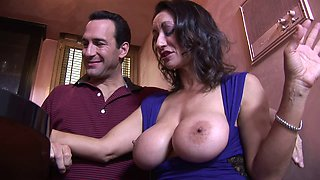Busty milf in a slutty dress sucks his dick and gets plowed