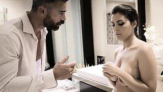 Wealthy man intimidates his sexy brunette european maid