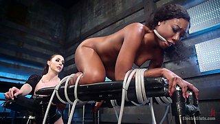 Super sexy mistress punishes tied up ebony chick