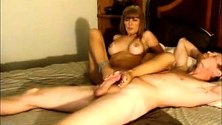 Sensuous blonde works her sexy feet on every inch of cock