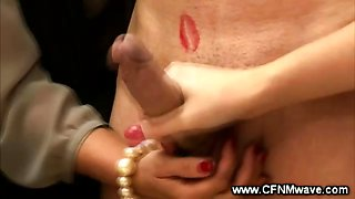 Horny CFNM women pull cock get cumshot from lucky guy