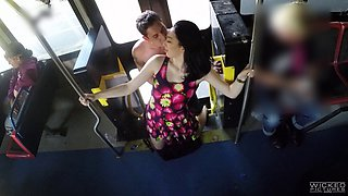 Reality shoot of brunette giving huge dick blowjob in bus