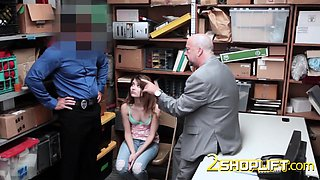 Horny officer makes dad watch as he fucks his teen daughter