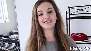 Flirty legal age teenager seduces her brother
