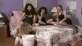 Two wicked white milfs seducing a shy milf for BDSM