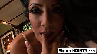 Brunette MILF gets her big tits covered in jizz