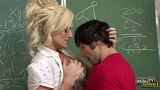 Busty Blonde Milf Sucking And Fucking In Classroom
