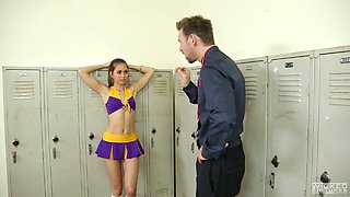 Sexy cheerleader Riley Reid gets her juicy muff hammered well
