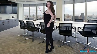 Naughty office chick Georgie strip and dances after a business meeting