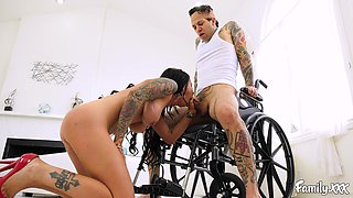 Tattooed guy gets to bang Brandy Aniston while she moans loudly