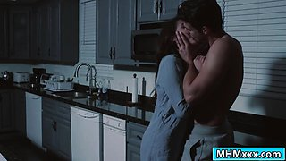 Hot Adria Rae deepthroats guy in kitchen after she is fucked